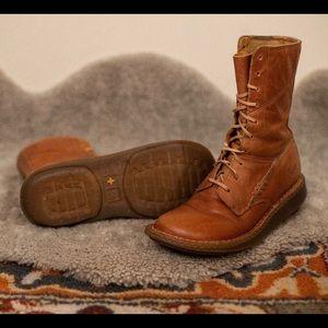 Doc Marten combat boots in peanut